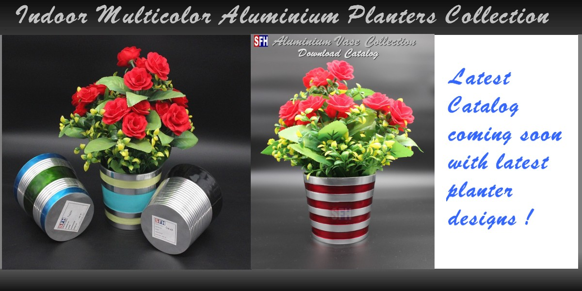 Indoor Multicolor Aluminium Pots & Planters Collection